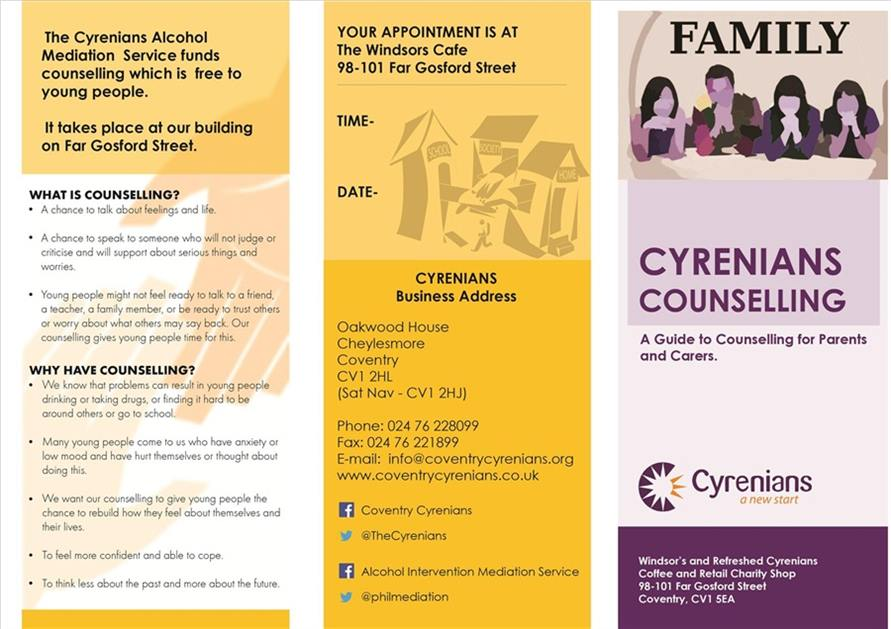 AIMS Counselling Leaflet Front Cover